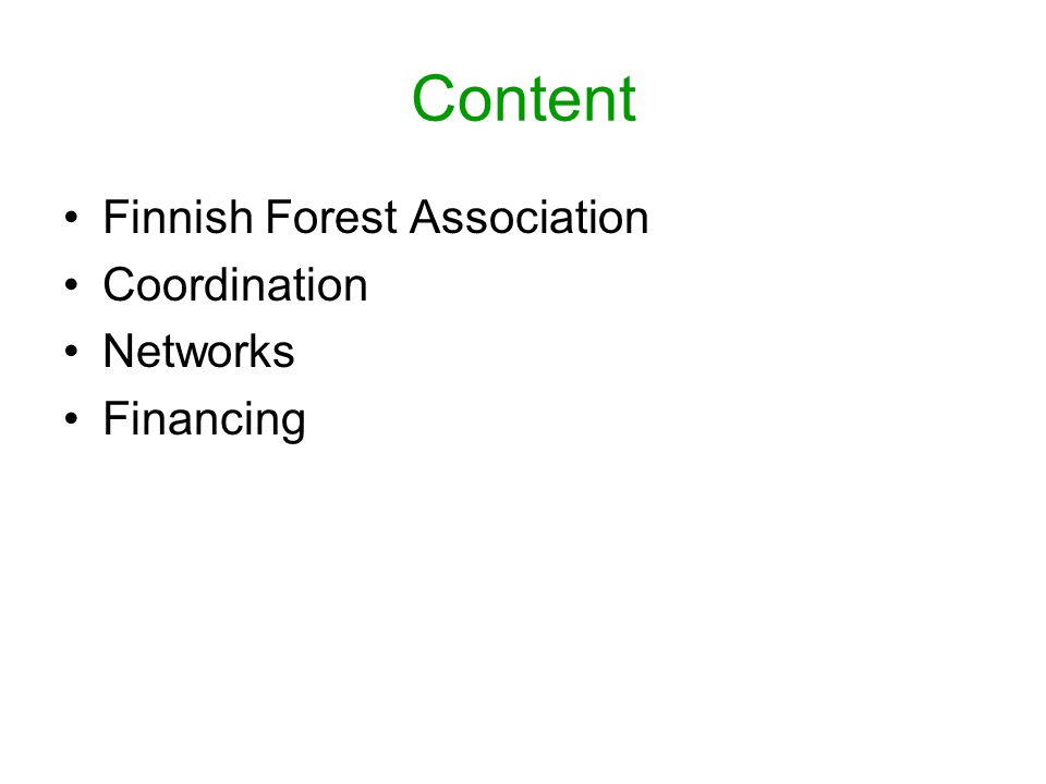 Content Finnish Forest Association Coordination Networks Financing