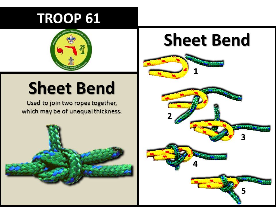 Sheet Bend Used to join two ropes together, which may be of unequal thickness. TROOP 61 Sheet Bend 1 2 3 4 5