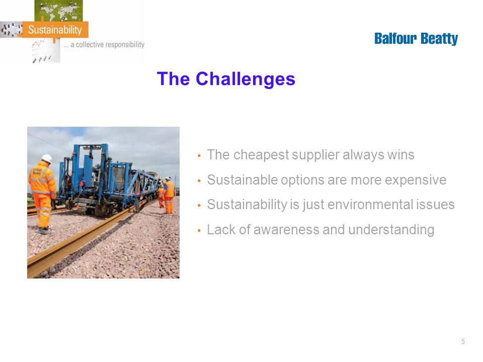 5 The Challenges The cheapest supplier always wins Sustainable options are more expensive Sustainability is just environmental issues Lack of awareness and understanding