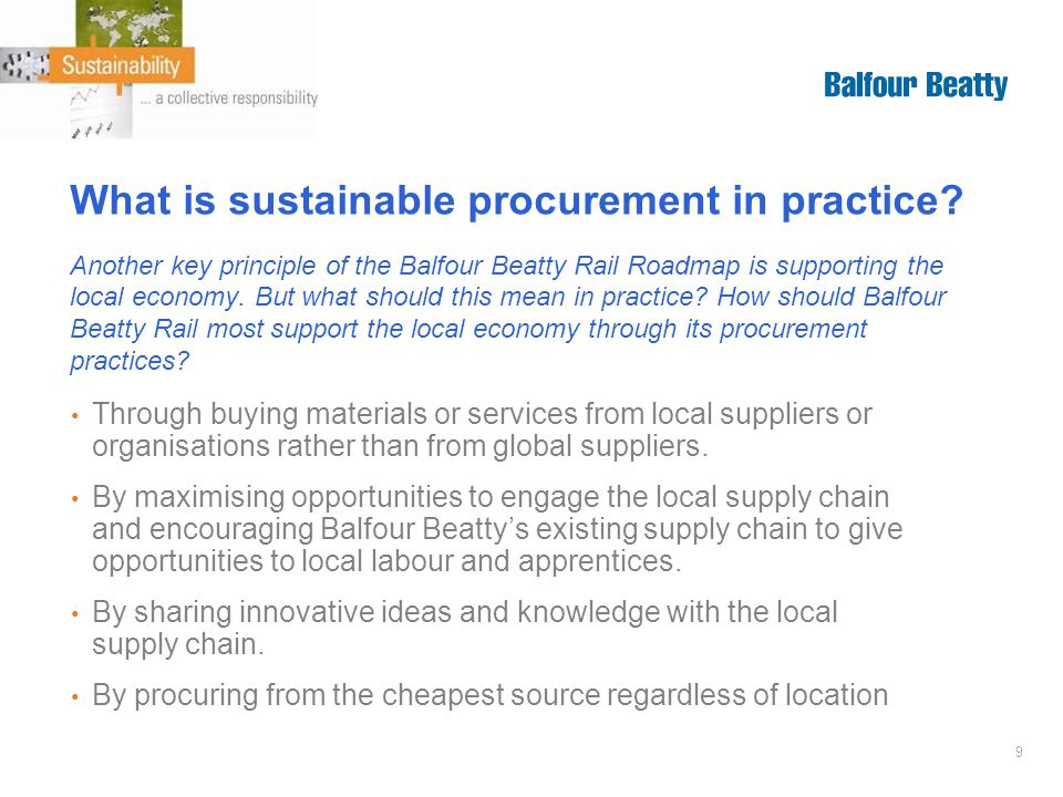 9 What is sustainable procurement in practice.