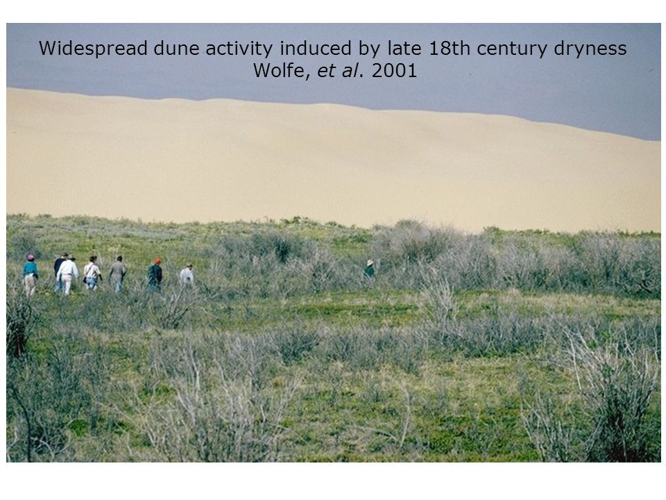 Widespread dune activity induced by late 18th century dryness Wolfe, et al. 2001