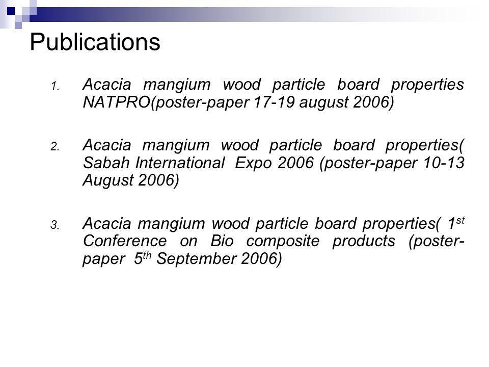 Publications 1. Acacia mangium wood particle board properties NATPRO(poster-paper 17-19 august 2006) 2. Acacia mangium wood particle board properties(