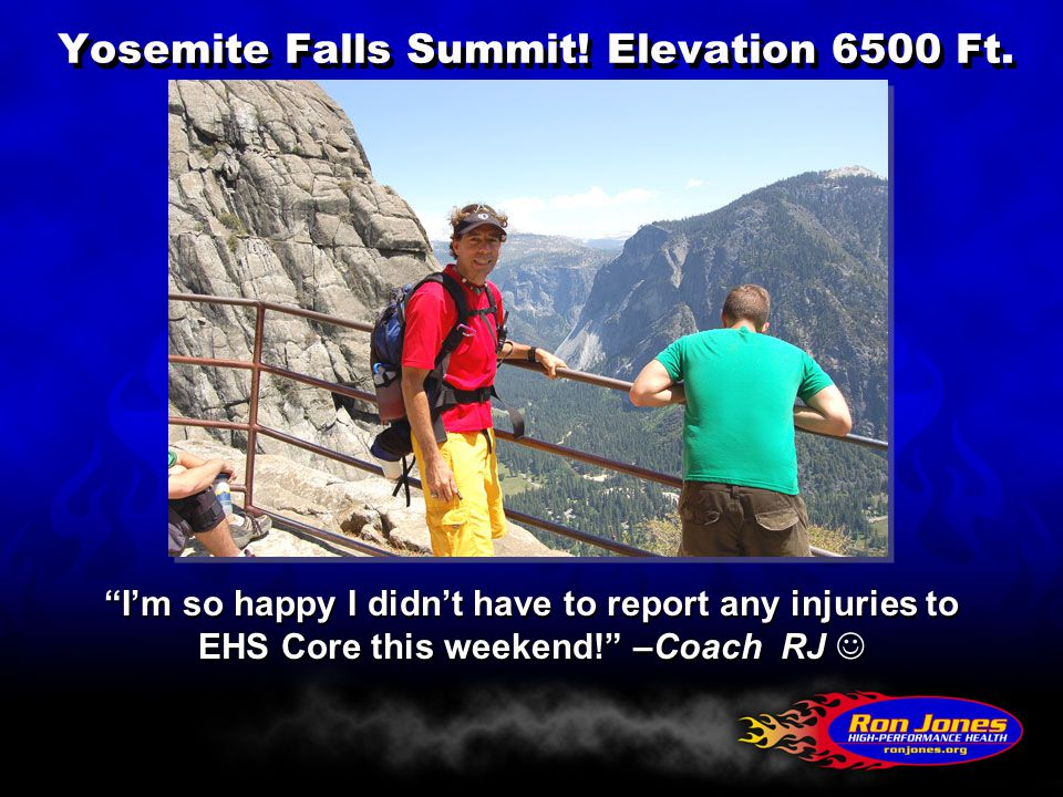 Yosemite Falls Summit. Elevation 6500 Ft.