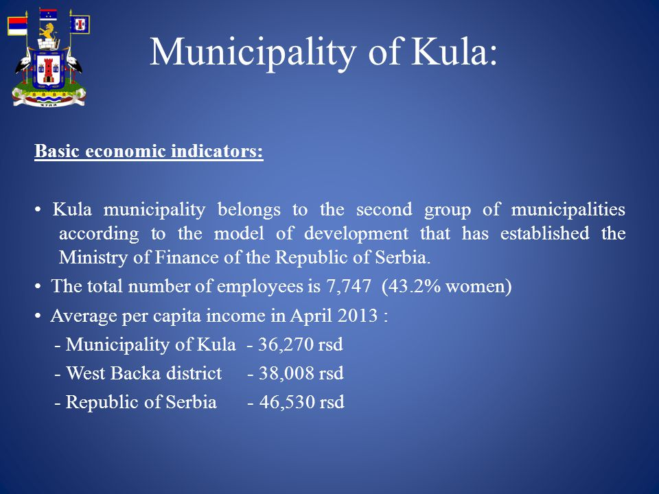 Municipality of Kula: Basic economic indicators: Kula municipality belongs to the second group of municipalities according to the model of development
