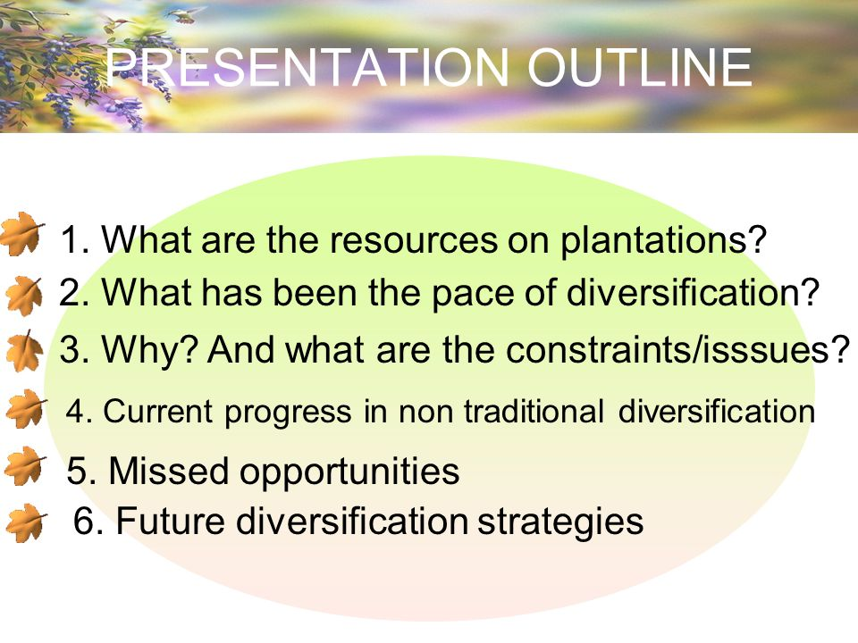 PRESENTATION OUTLINE 1. What are the resources on plantations.