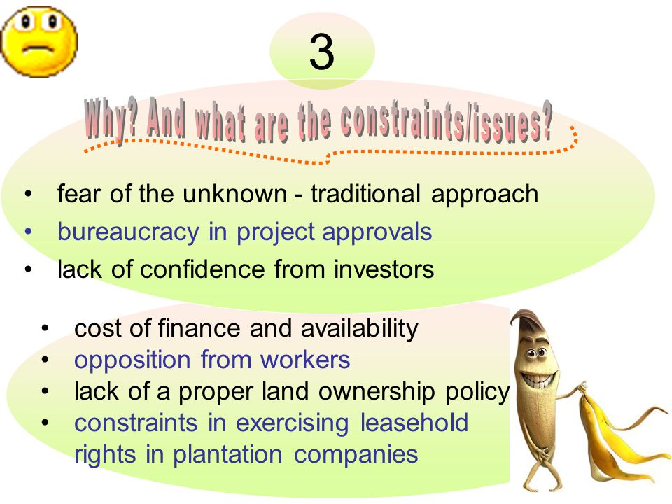 3 fear of the unknown - traditional approach bureaucracy in project approvals lack of confidence from investors cost of finance and availability opposition from workers lack of a proper land ownership policy constraints in exercising leasehold rights in plantation companies