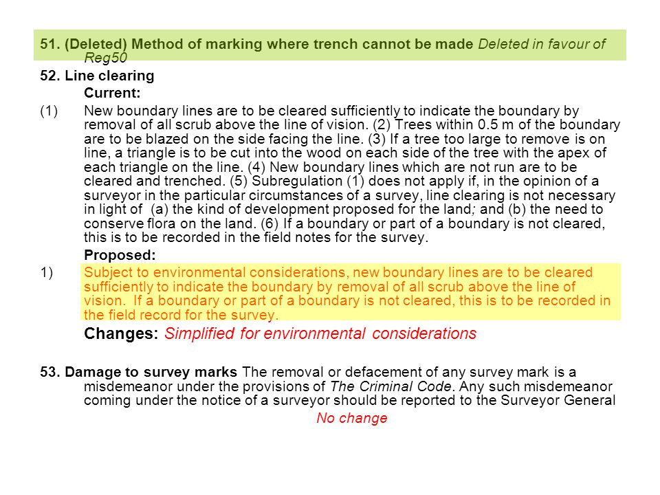51. (Deleted) Method of marking where trench cannot be made Deleted in favour of Reg50 52.