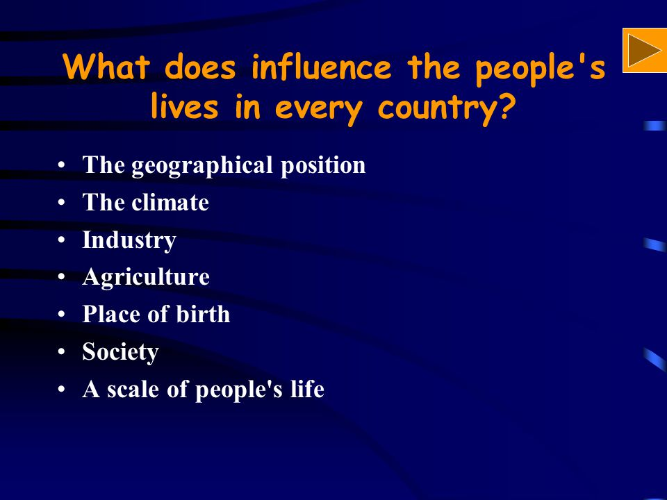 What does influence the people's lives in every country? The geographical position The climate Industry Agriculture Place of birth Society A scale of