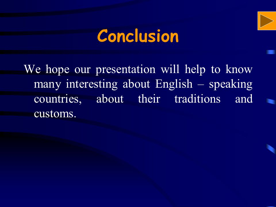 Conclusion We hope our presentation will help to know many interesting about English – speaking countries, about their traditions and customs.