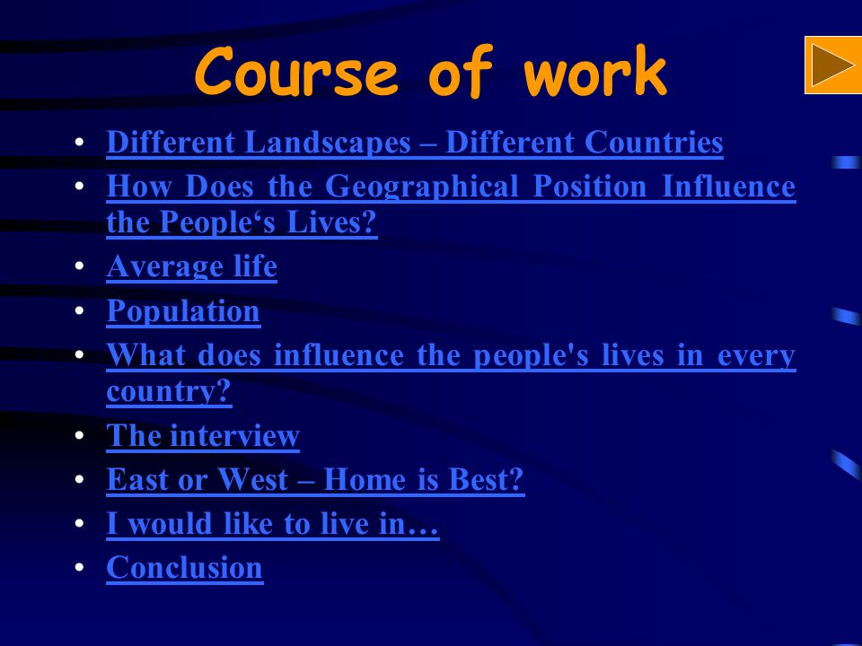 Course of work Different Landscapes – Different CountriesDifferent Landscapes – Different Countries How Does the Geographical Position Influence the People's Lives?How Does the Geographical Position Influence the People's Lives.