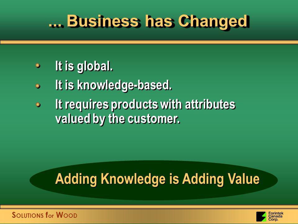 S OLUTIONS f or W OOD... Business has Changed It is global.