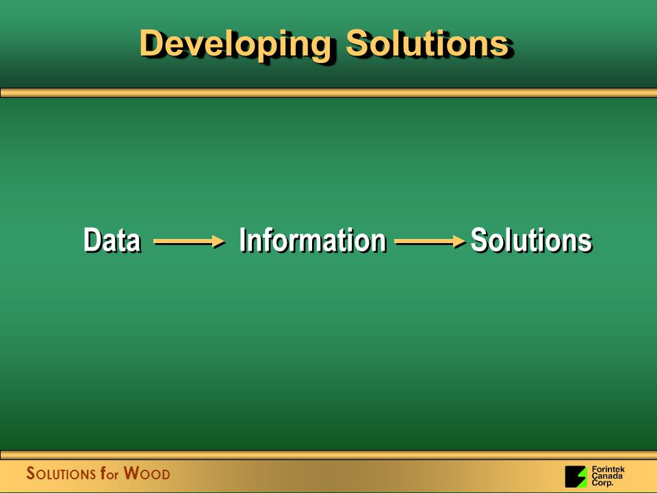 S OLUTIONS f or W OOD Data Information Solutions Developing Solutions