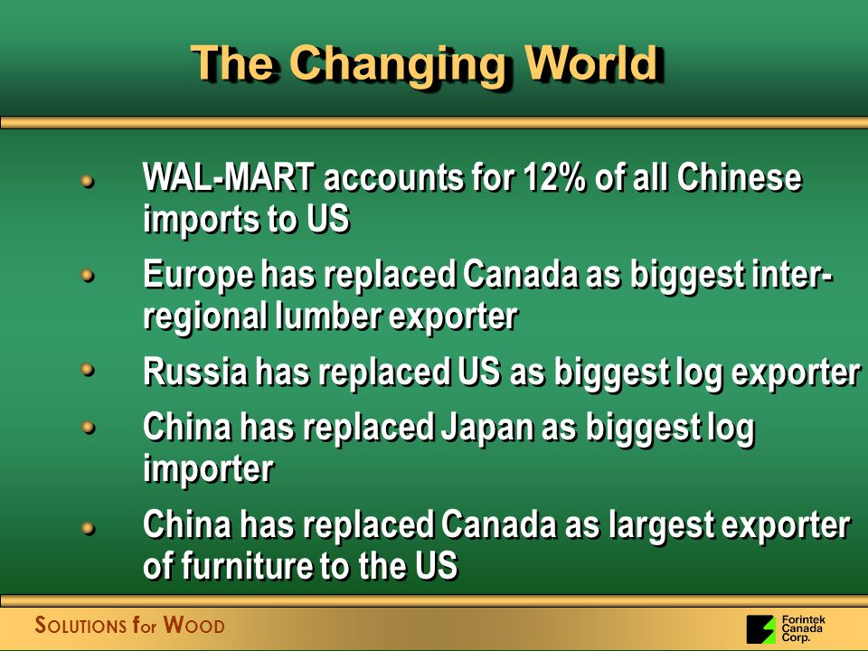 S OLUTIONS f or W OOD WAL-MART accounts for 12% of all Chinese imports to US Europe has replaced Canada as biggest inter- regional lumber exporter Russia has replaced US as biggest log exporter China has replaced Japan as biggest log importer China has replaced Canada as largest exporter of furniture to the US WAL-MART accounts for 12% of all Chinese imports to US Europe has replaced Canada as biggest inter- regional lumber exporter Russia has replaced US as biggest log exporter China has replaced Japan as biggest log importer China has replaced Canada as largest exporter of furniture to the US The Changing World