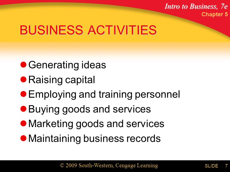 Intro to Business, 7e © 2009 South-Western, Cengage Learning SLIDE Chapter 5 7 BUSINESS ACTIVITIES Generating ideas Raising capital Employing and trai