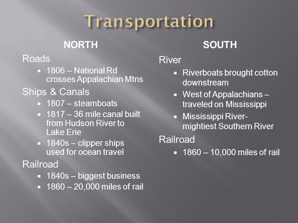 NORTHSOUTH Roads  1806 – National Rd crosses Appalachian Mtns Ships & Canals  1807 – steamboats  1817 – 36 mile canal built from Hudson River to La