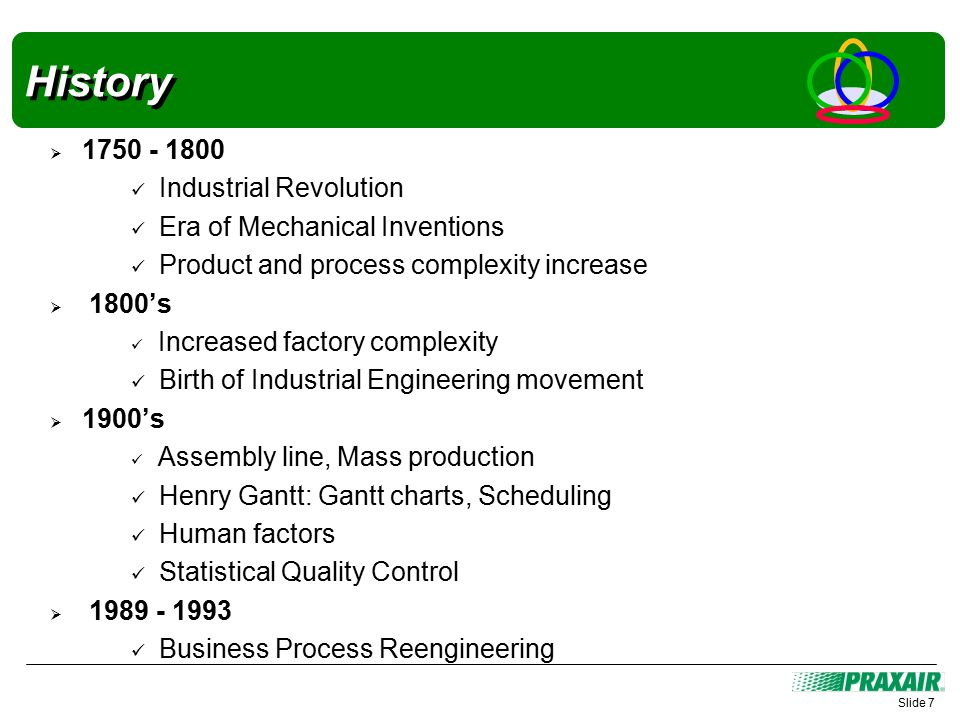 History  1750 - 1800 Industrial Revolution Era of Mechanical Inventions Product and process complexity increase  1800's Increased factory complexity Birth of Industrial Engineering movement  1900's Assembly line, Mass production Henry Gantt: Gantt charts, Scheduling Human factors Statistical Quality Control  1989 - 1993 Business Process Reengineering Slide 7