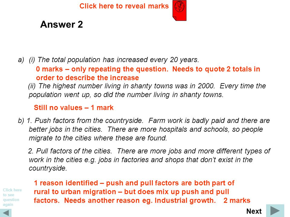 Answer 2 a)(i) The total population has increased every 20 years.