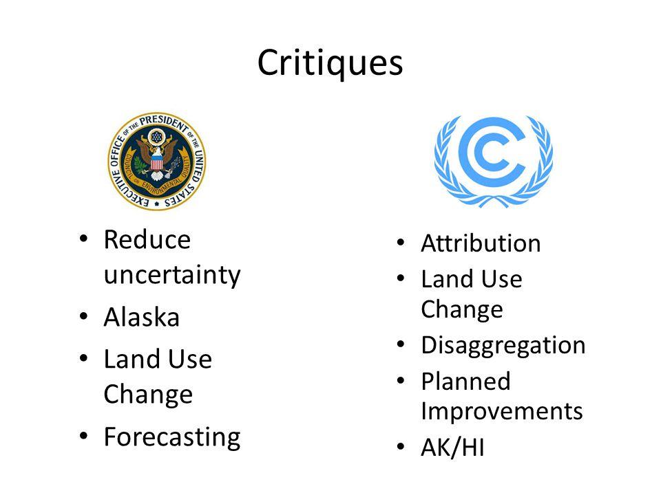 Critiques Reduce uncertainty Alaska Land Use Change Forecasting Attribution Land Use Change Disaggregation Planned Improvements AK/HI