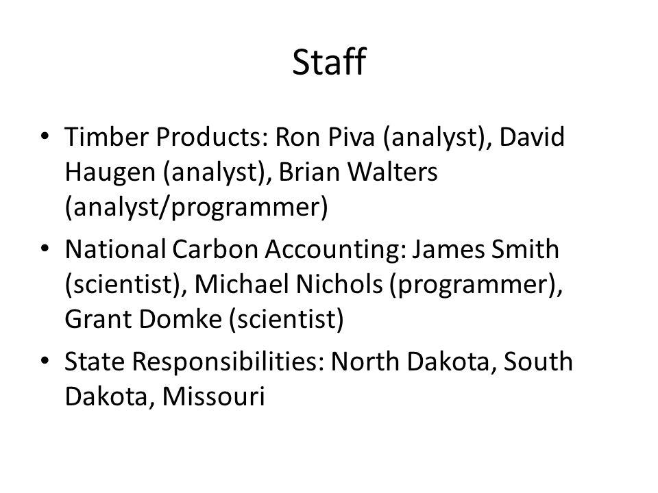 Staff Timber Products: Ron Piva (analyst), David Haugen (analyst), Brian Walters (analyst/programmer) National Carbon Accounting: James Smith (scientist), Michael Nichols (programmer), Grant Domke (scientist) State Responsibilities: North Dakota, South Dakota, Missouri