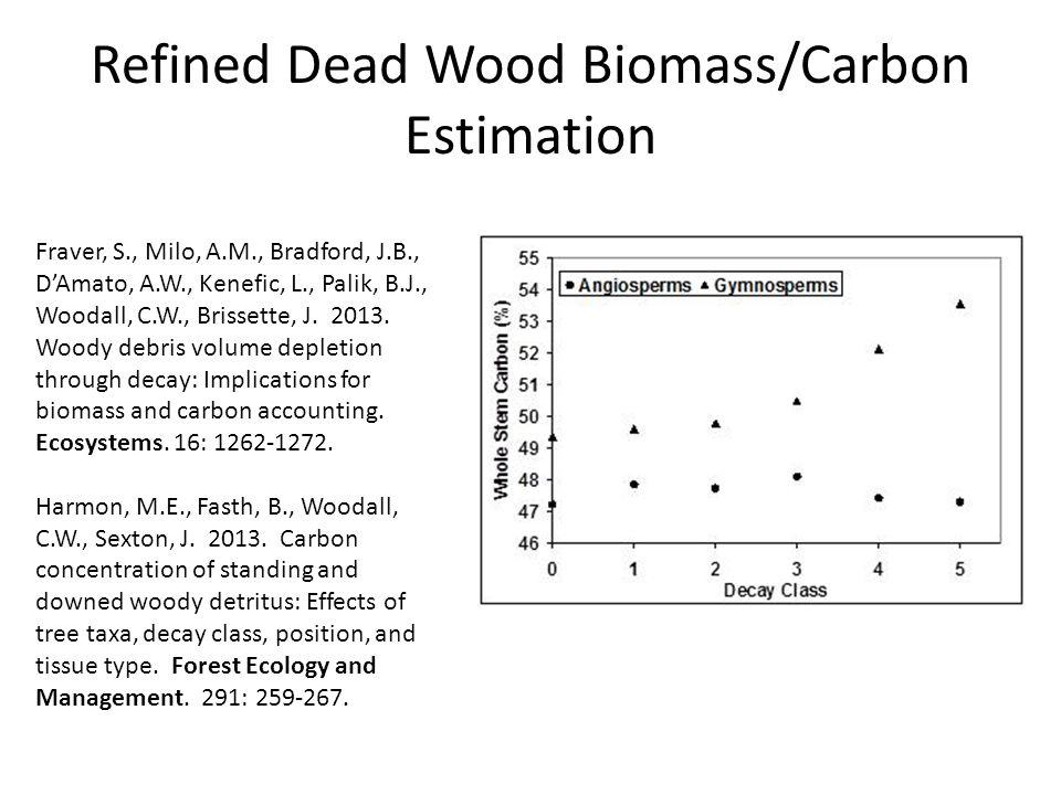 Refined Dead Wood Biomass/Carbon Estimation Fraver, S., Milo, A.M., Bradford, J.B., D'Amato, A.W., Kenefic, L., Palik, B.J., Woodall, C.W., Brissette, J.
