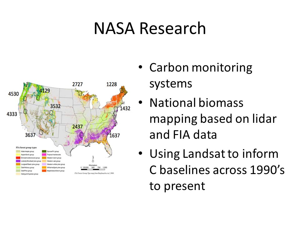 NASA Research Carbon monitoring systems National biomass mapping based on lidar and FIA data Using Landsat to inform C baselines across 1990's to present
