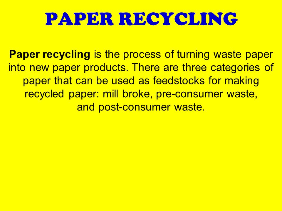 PAPER RECYCLING Paper recycling is the process of turning waste paper into new paper products.