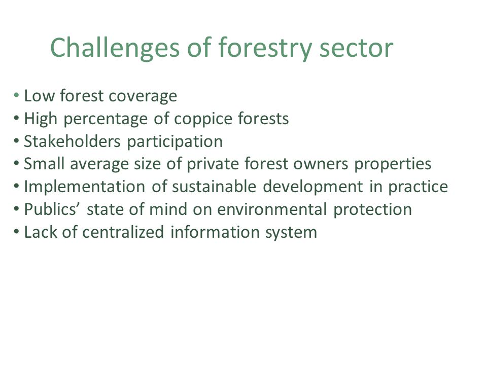 Challenges of forestry sector Low forest coverage High percentage of coppice forests Stakeholders participation Small average size of private forest owners properties Implementation of sustainable development in practice Publics' state of mind on environmental protection Lack of centralized information system