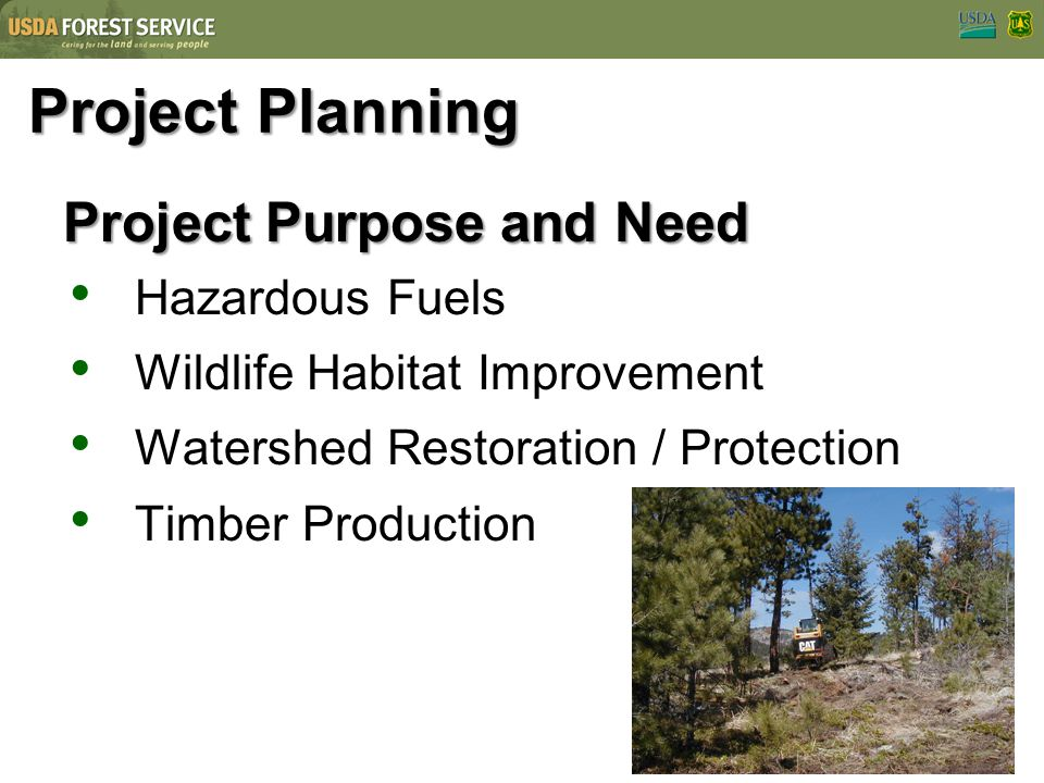 Project Planning Project Purpose and Need Hazardous Fuels Wildlife Habitat Improvement Watershed Restoration / Protection Timber Production
