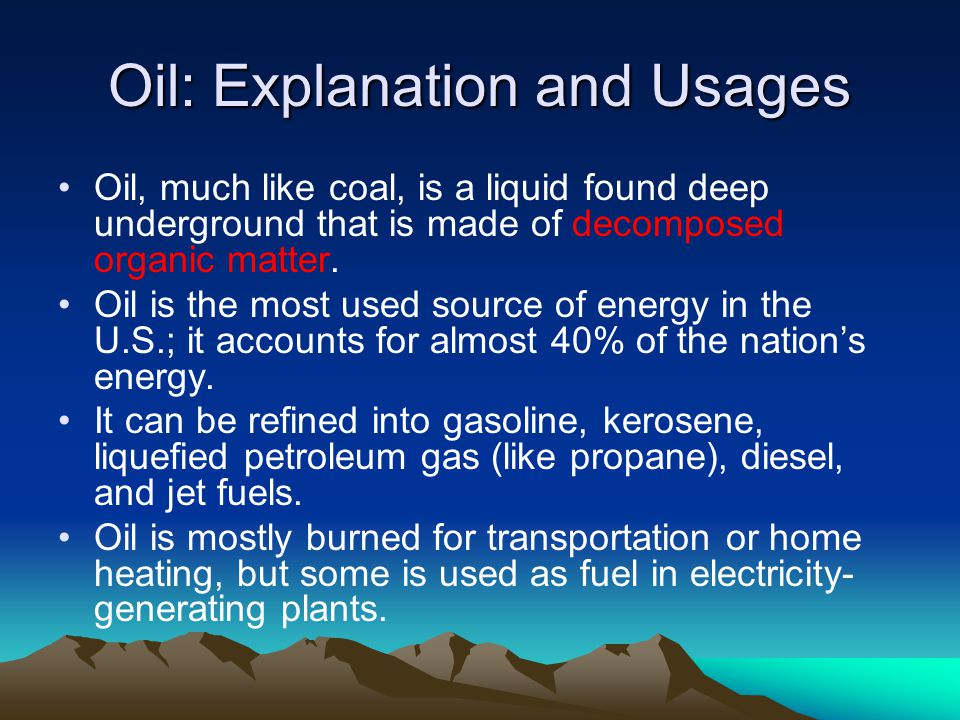 Oil: Advantages and Disadvantages Burning oil produces much air pollution, including nitrogen oxides, sulfur dioxides, carbon dioxide, methane, mercury, and volatile organic compounds.