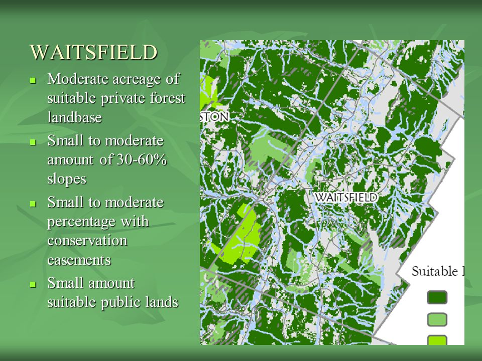 WAITSFIELD Moderate acreage of suitable private forest landbase Moderate acreage of suitable private forest landbase Small to moderate amount of 30-60