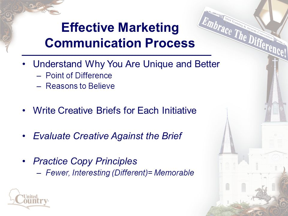 Effective Marketing Communication Process Understand Why You Are Unique and Better –Point of Difference –Reasons to Believe Write Creative Briefs for Each Initiative Evaluate Creative Against the Brief Practice Copy Principles –Fewer, Interesting (Different)= Memorable