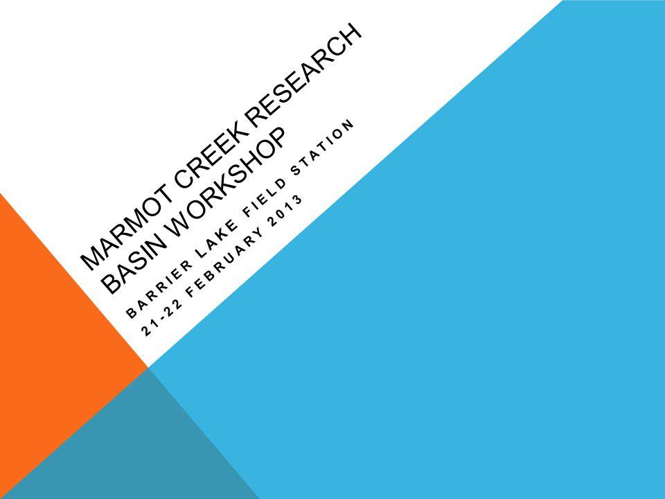 MARMOT CREEK RESEARCH BASIN WORKSHOP BARRIER LAKE FIELD STATION 21-22 FEBRUARY 2013