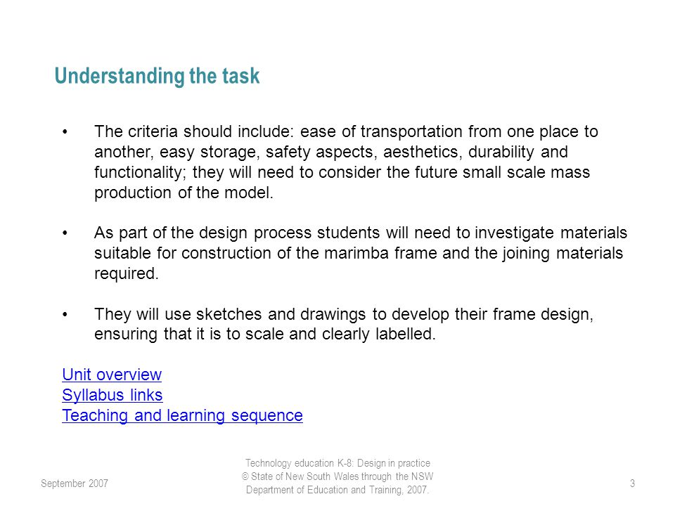 September 2007 Technology education K-8: Design in practice © State of New South Wales through the NSW Department of Education and Training, 2007.