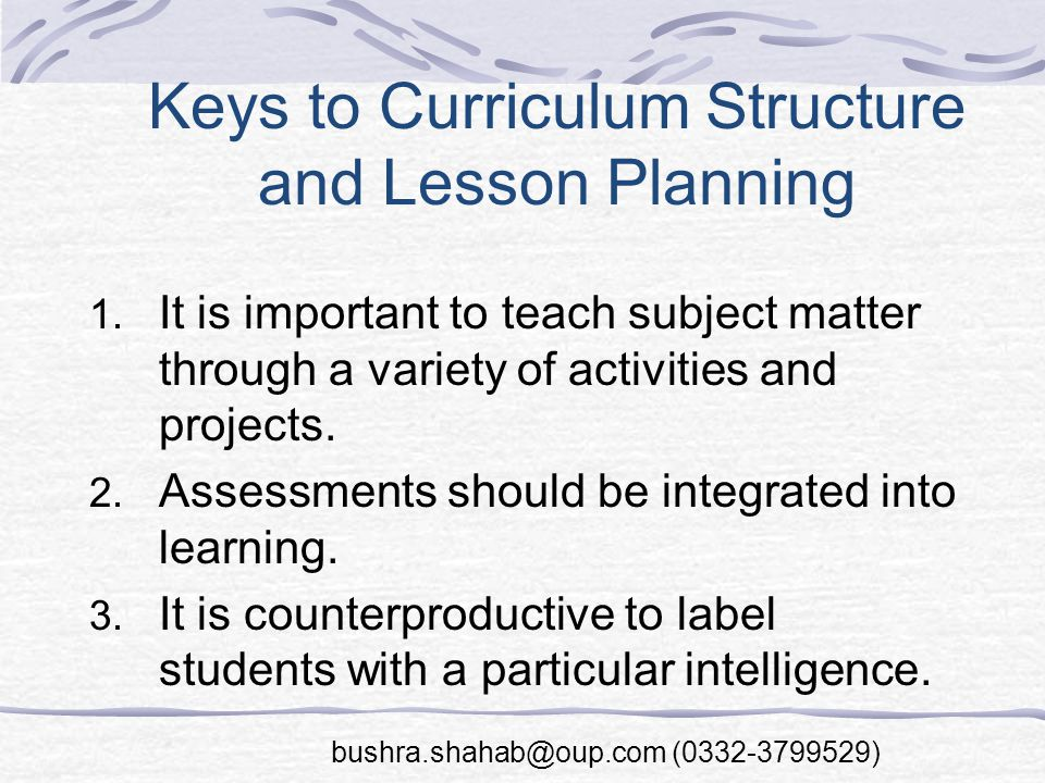 Keys to Curriculum Structure and Lesson Planning 1.