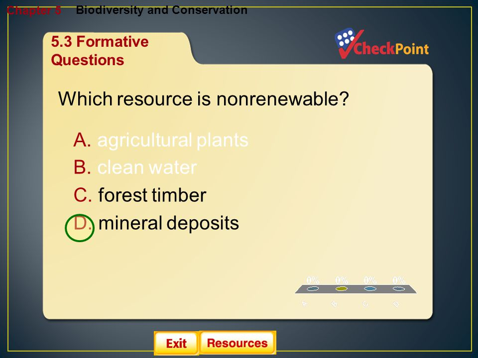 1.A 2.B 3.C 4.D Biodiversity and Conservation Chapter 5 A. agricultural plants B. clean water C. forest timber D. mineral deposits Which resource is n