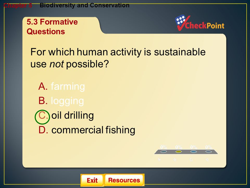 1.A 2.B 3.C 4.D Biodiversity and Conservation Chapter 5 A. farming B. logging C. oil drilling D. commercial fishing For which human activity is sustai