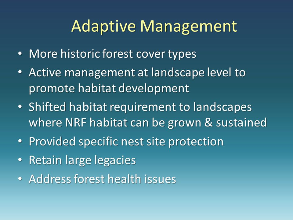 Adaptive Management More historic forest cover types More historic forest cover types Active management at landscape level to promote habitat development Active management at landscape level to promote habitat development Shifted habitat requirement to landscapes where NRF habitat can be grown & sustained Shifted habitat requirement to landscapes where NRF habitat can be grown & sustained Provided specific nest site protection Provided specific nest site protection Retain large legacies Retain large legacies Address forest health issues Address forest health issues