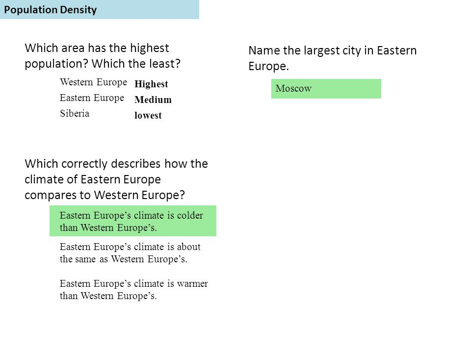 Population Density Which area has the highest population? Which the least? Western Europe Eastern Europe Siberia Highest Medium lowest Name the larges