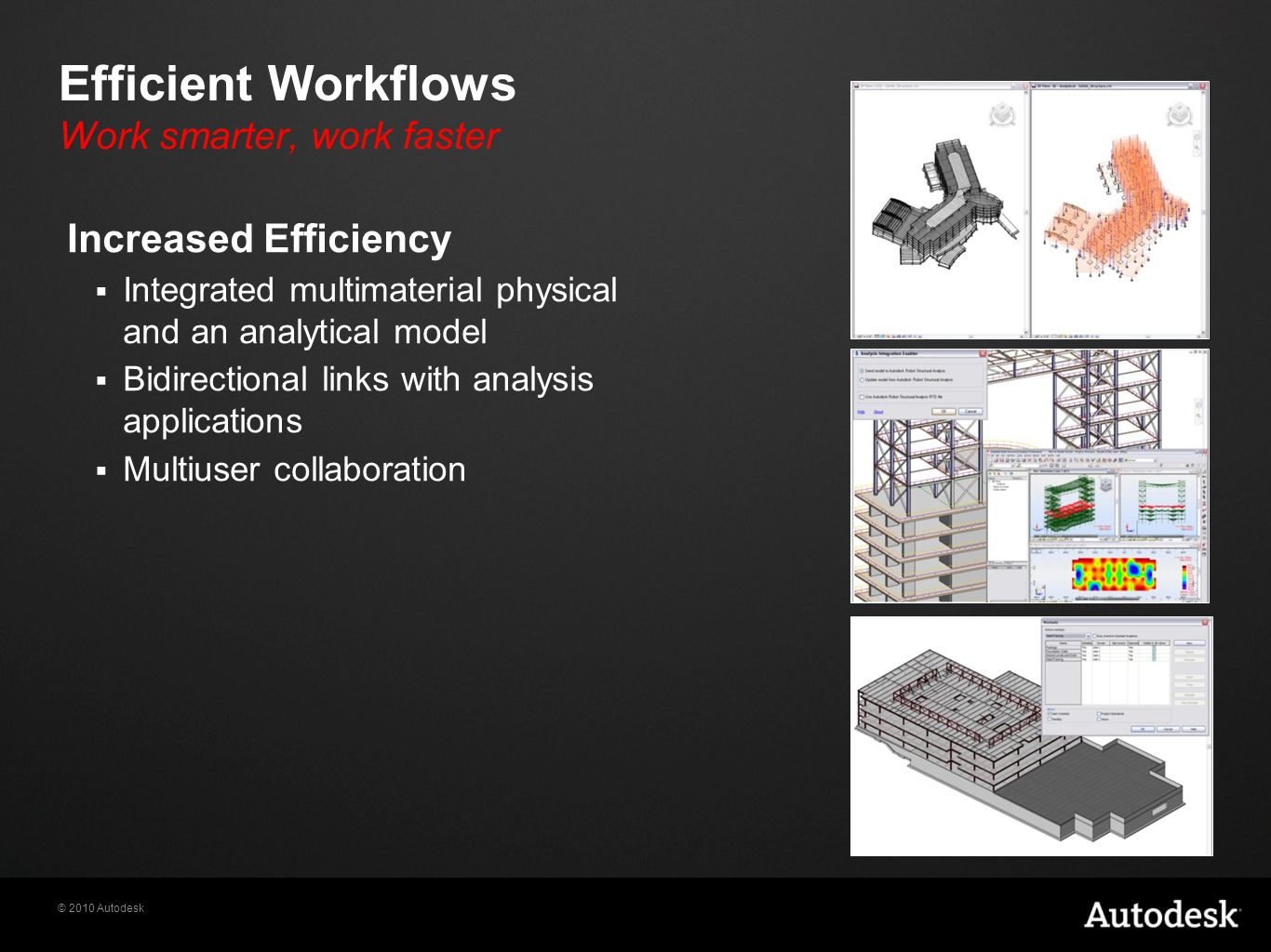 © 2010 Autodesk Efficient Workflows Work smarter, work faster Increased Efficiency  Integrated multimaterial physical and an analytical model  Bidirectional links with analysis applications  Multiuser collaboration