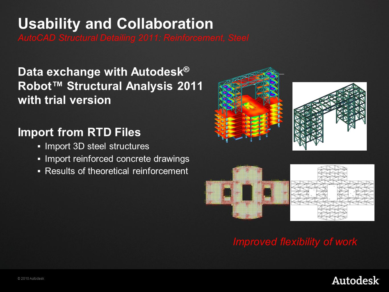 © 2010 Autodesk Usability and Collaboration Data exchange with Autodesk ® Robot™ Structural Analysis 2011 with trial version Import from RTD Files  Import 3D steel structures  Import reinforced concrete drawings  Results of theoretical reinforcement Improved flexibility of work AutoCAD Structural Detailing 2011: Reinforcement, Steel