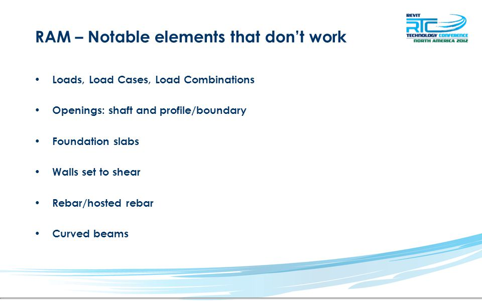 RAM – Notable elements that don't work Loads, Load Cases, Load Combinations Openings: shaft and profile/boundary Foundation slabs Walls set to shear Rebar/hosted rebar Curved beams