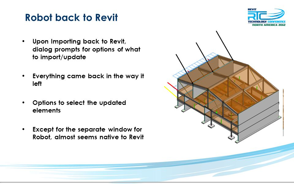 Robot back to Revit Upon Importing back to Revit, dialog prompts for options of what to import/update Everything came back in the way it left Options to select the updated elements Except for the separate window for Robot, almost seems native to Revit