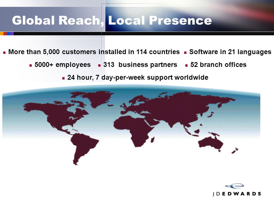 Global Reach, Local Presence More than 5,000 customers installed in 114 countries 52 branch offices Software in 21 languages 5000+ employees 24 hour,