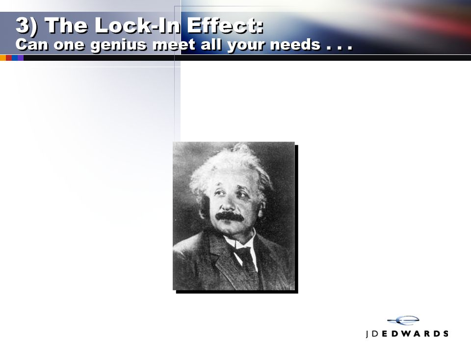 3) The Lock-In Effect: Can one genius meet all your needs...