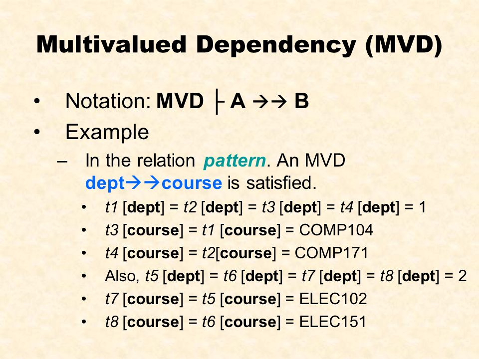 Multivalued Dependency (MVD) sidsnamesprogramsdept 1001stud_ABEng(COMP)1 1002stud_BBEng(COMP)1 1003stud_CBEng(ELEC)2 1004stud_DBEng(ELEC)2 deptcourse 1COMP104 1COMP171 2ELEC102 2ELEC151 student requirement