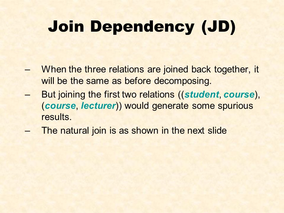 Join Dependency (JD) StudentCourseLecturer 1001COMP1041 1001COMP1042 1001COMP1713 1002COMP1041 1002COMP1042 1002COMP1713 1003ELEC1024 1003ELEC1515 1003ELEC1516 1004ELEC1024 1004ELEC1515 1004ELEC1516 The tuples with red values are spurious.