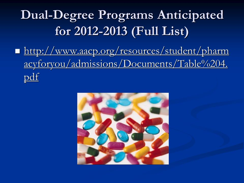 Dual-Degree Programs Anticipated for 2012-2013 (Full List) http://www.aacp.org/resources/student/pharm acyforyou/admissions/Documents/Table%204.