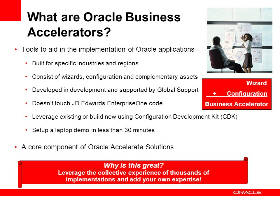 What are Oracle Business Accelerators? Tools to aid in the implementation of Oracle applications Built for specific industries and regions Consist of