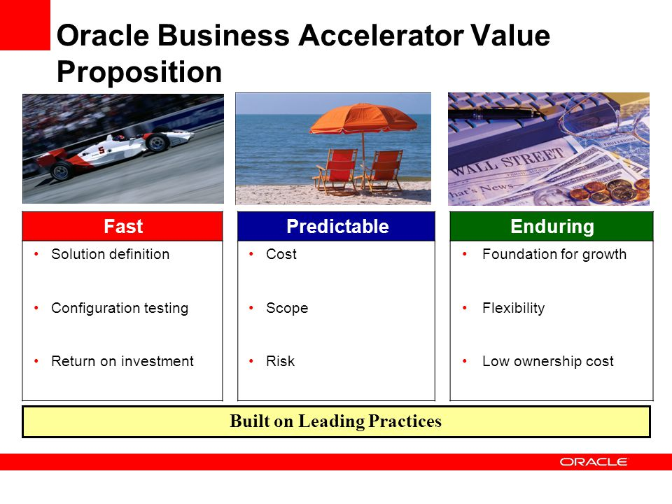Oracle Business Accelerator Value Proposition FastPredictableEnduring Solution definition Configuration testing Return on investment Cost Scope Risk F