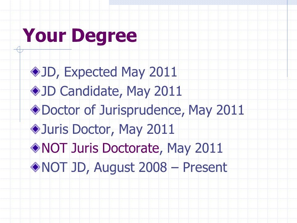 Your Degree JD, Expected May 2011 JD Candidate, May 2011 Doctor of Jurisprudence, May 2011 Juris Doctor, May 2011 NOT Juris Doctorate, May 2011 NOT JD, August 2008 – Present